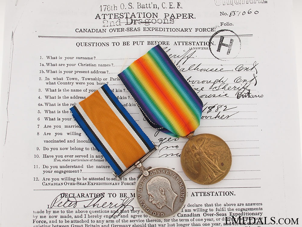 eMedals-Great War Pair to the 3rd Canadian Infantry Battalion
