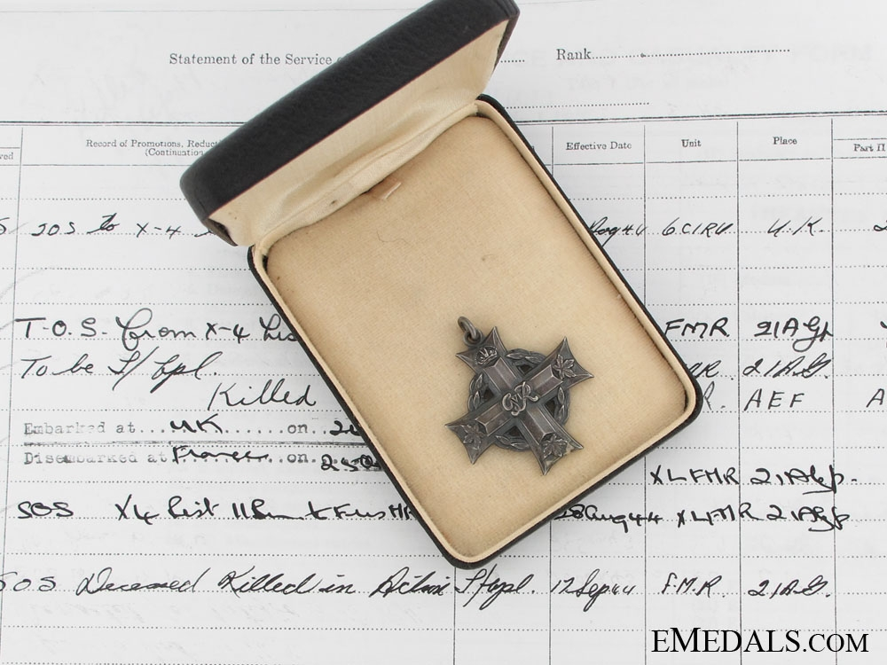 eMedals-Memorial Cross to Pte.Vincent, Les Fusiliers Mont-Royal