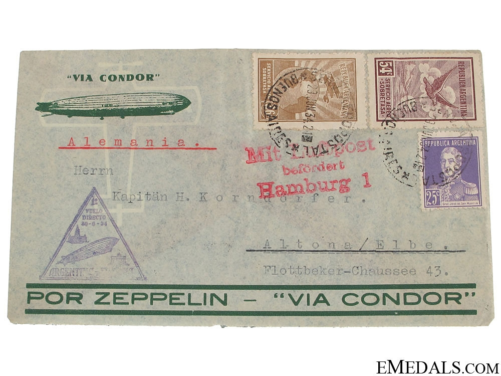 eMedals-Condor Zeppelin Air Mail Envelope 1934