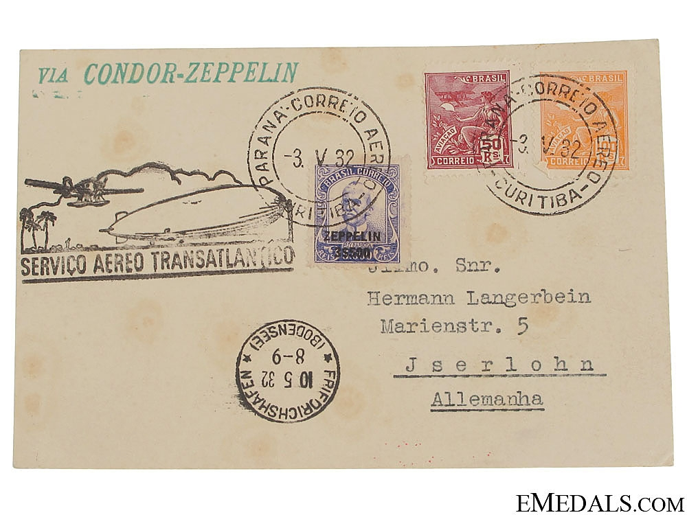 eMedals-Condor Zeppelin Air Mail Postcard 1932