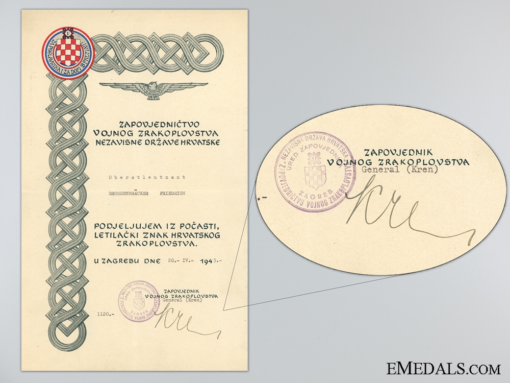 eMedals-A Croatian Award Document for the Honorary Pilot's Badge 1945