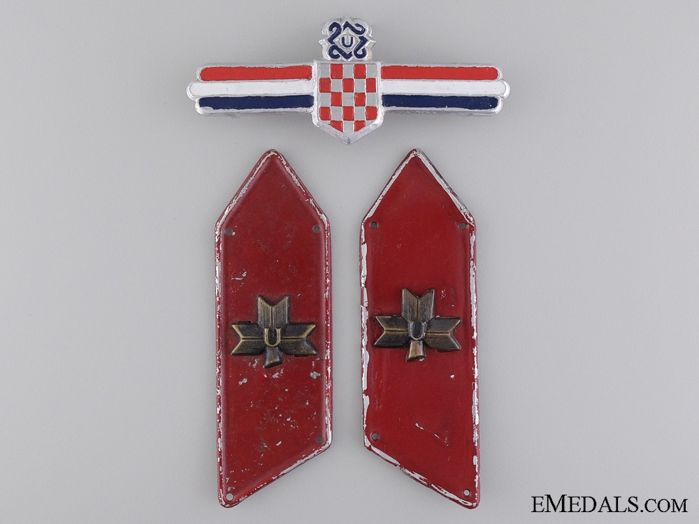 eMedals-Croatian Defence Force Leader's Badge and Collar Tab Pair