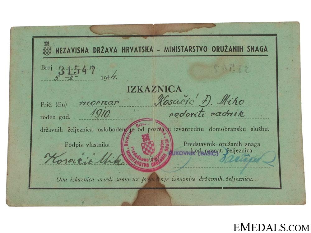 eMedals-Croatian ID of a Naval Seaman/Sailor, 1944