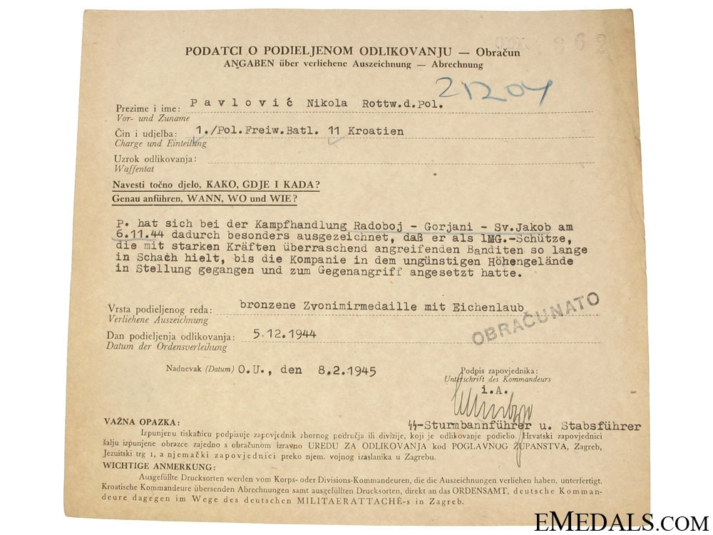 eMedals-Croatian WWII Original Document