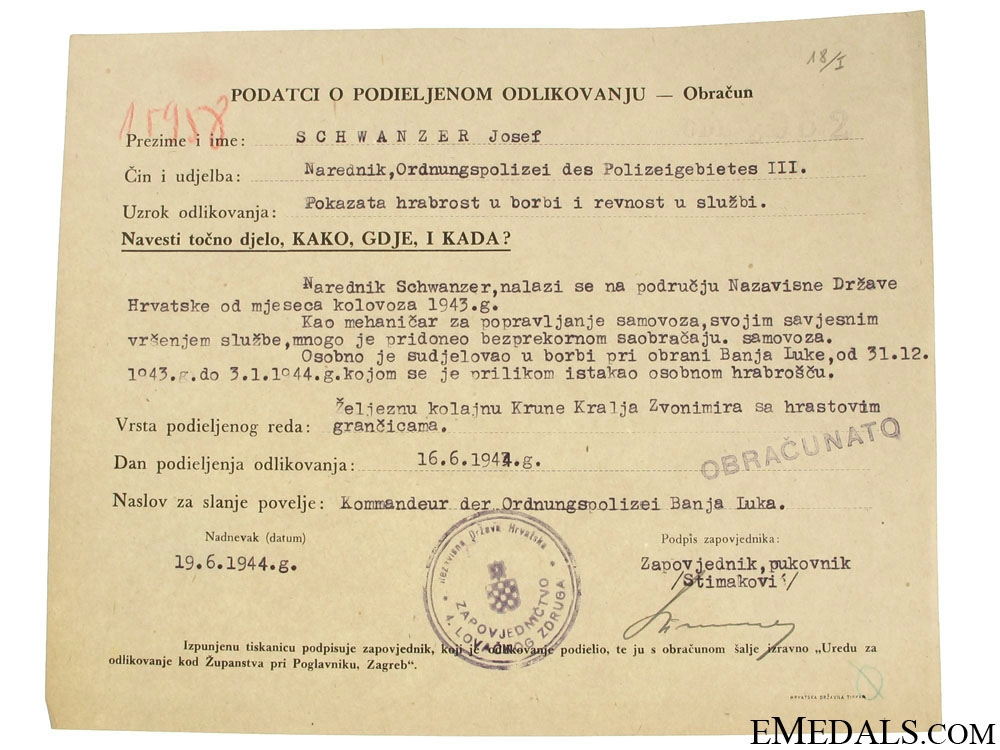 eMedals-Croatian WWII Original Document