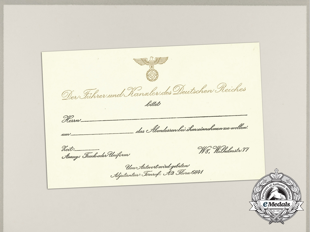 A formal invitation rsvp card to dinner with ah at the reich a formal invitation rsvp card to dinner with ah at the reich chancellery stopboris Choice Image