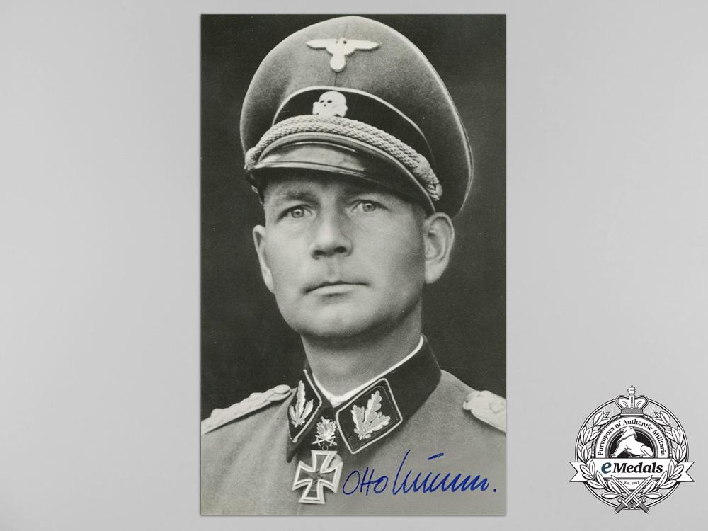 eMedals-A Wartime Picture Postcard Signed by SS-Obersturmbannführer Otto Kumm