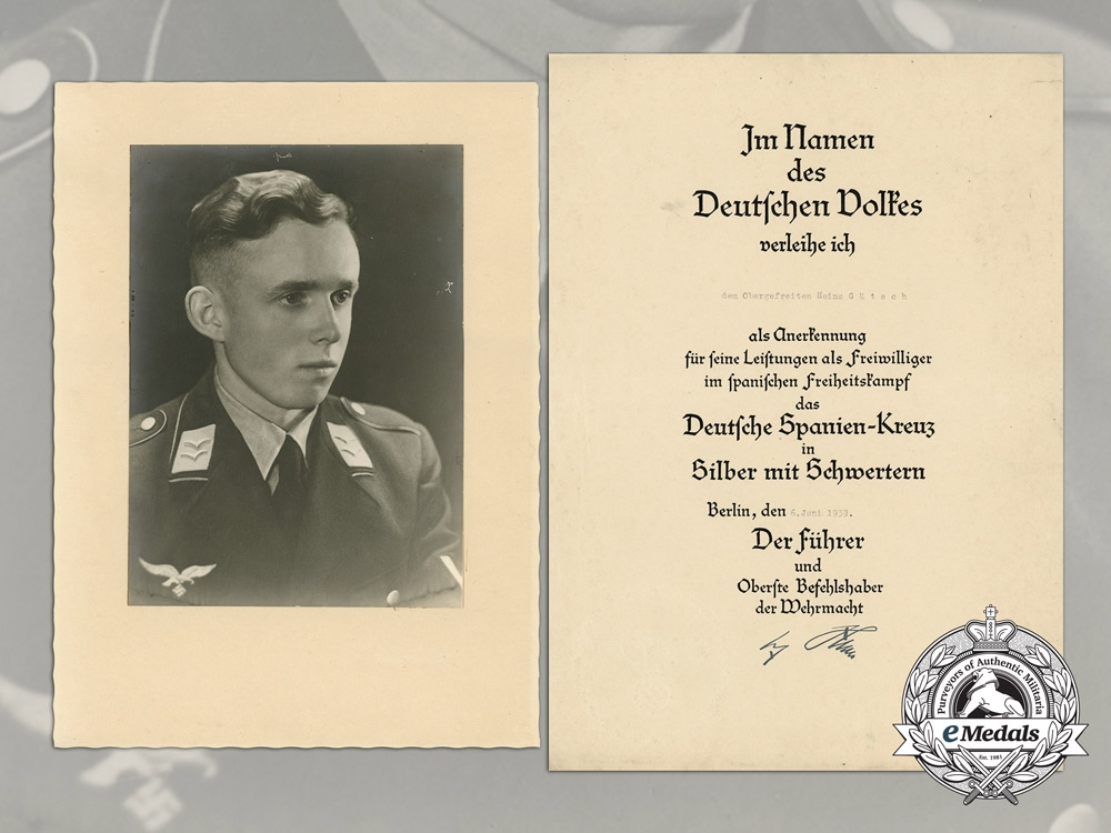 eMedals-Germany, Luftwaffe. A 1939 Spanish Cross in Silver Award Document to Obergefreiter Heinz Gätsch