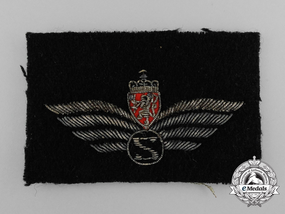 eMedals-A Second War Royal Norwegian Air Force Army Observer/Systems Operator Patch