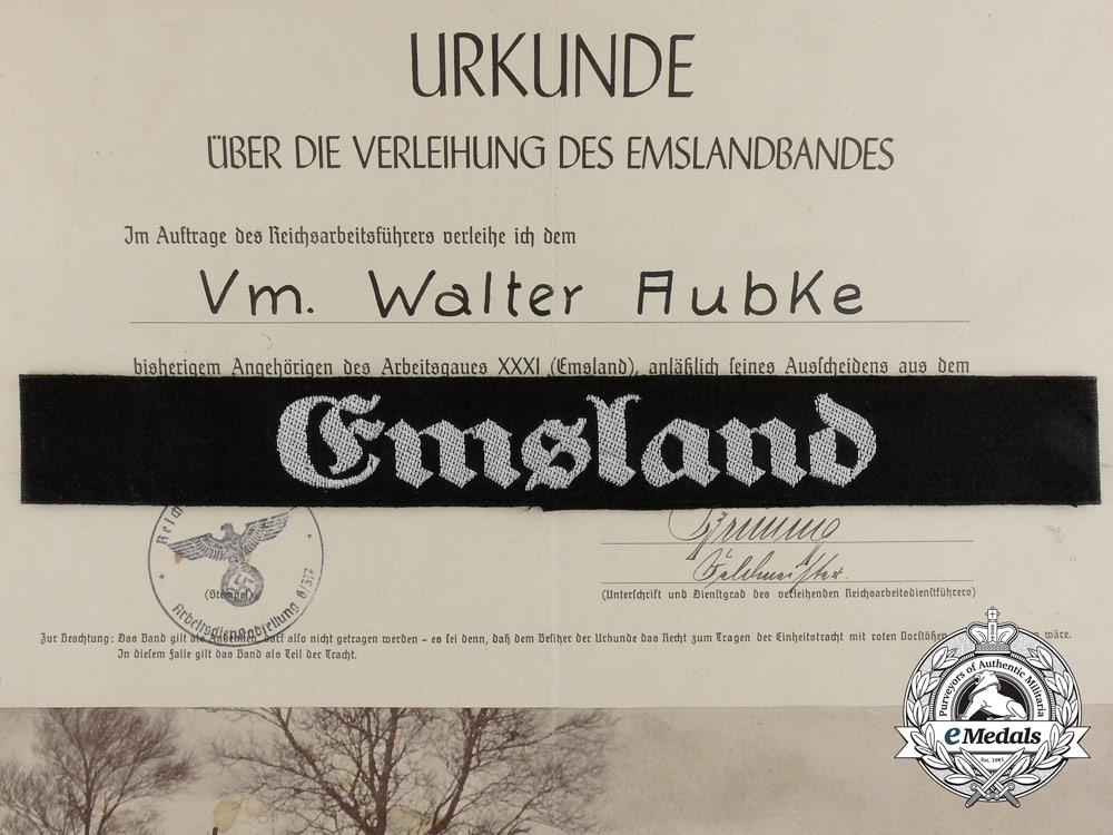 eMedals-Germany, RAD. A Reichslabor Service Cufftitle with Document; Emsland