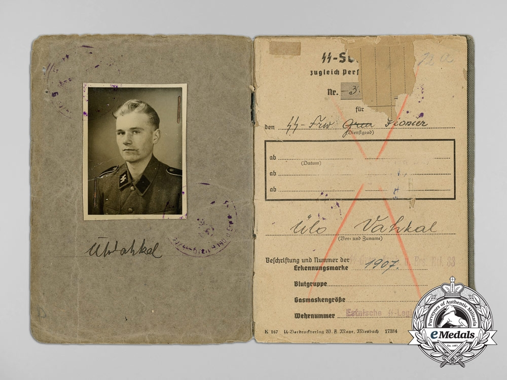 eMedals-A Soldbuch to SS Estonian Volunteer Ülo Vahkal who Died of Wounds in 1945