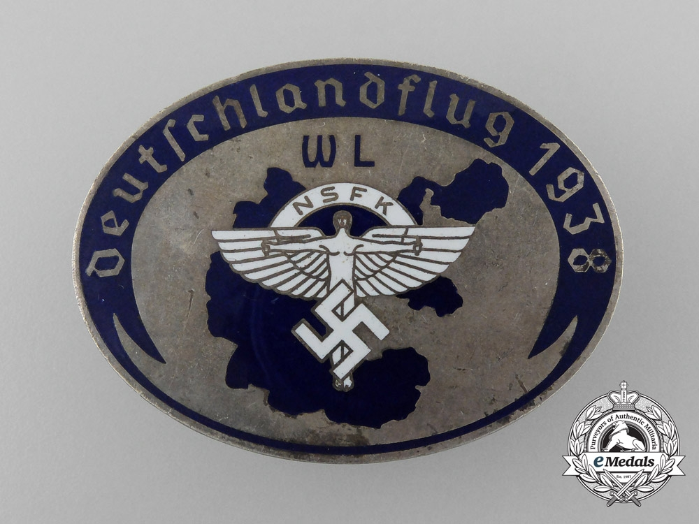 eMedals-A 1938 NSFK Germany-Flight Badge by G.Brehmer