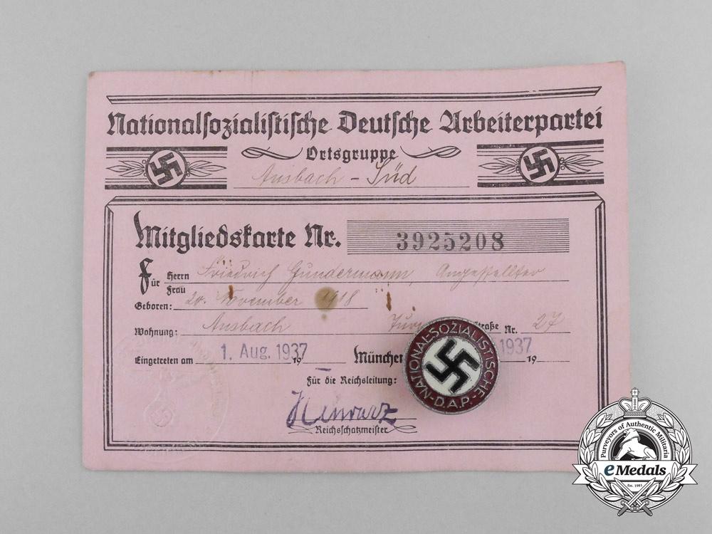 eMedals-An Early NSDAP Membership Certificate of Friedrich Gudermann with Badge by Matthias Öschsler & Sohn