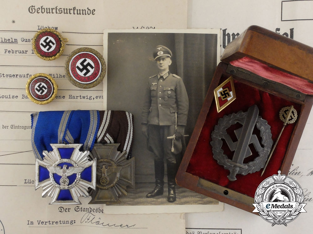 eMedals-An Exquisite Group of Awards, Badges, & Membership Documents of Wilhelm Bahr and his Paramilitary Career