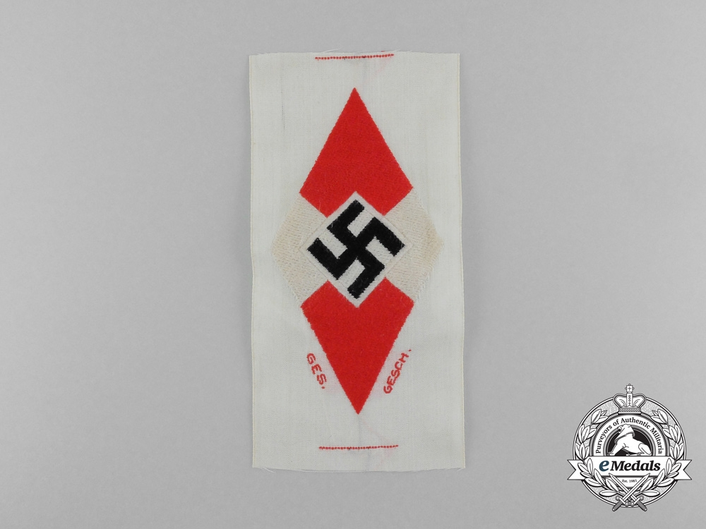 eMedals-A Mint and Unissued HJ Diamond Insignia Shirt Insignia; HJ RZM Tagged