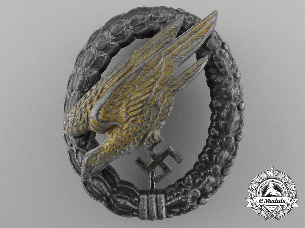eMedals-A Luftwaffe Fallschirmjäger Badge by Friedrich Linden Lüdenscheid