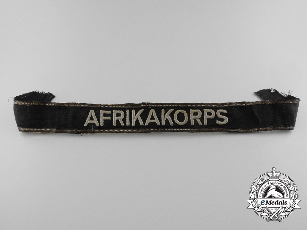 eMedals-A Rare Afrika Korps Panzer Officer's Campaign Cufftitle; Tunic Removed