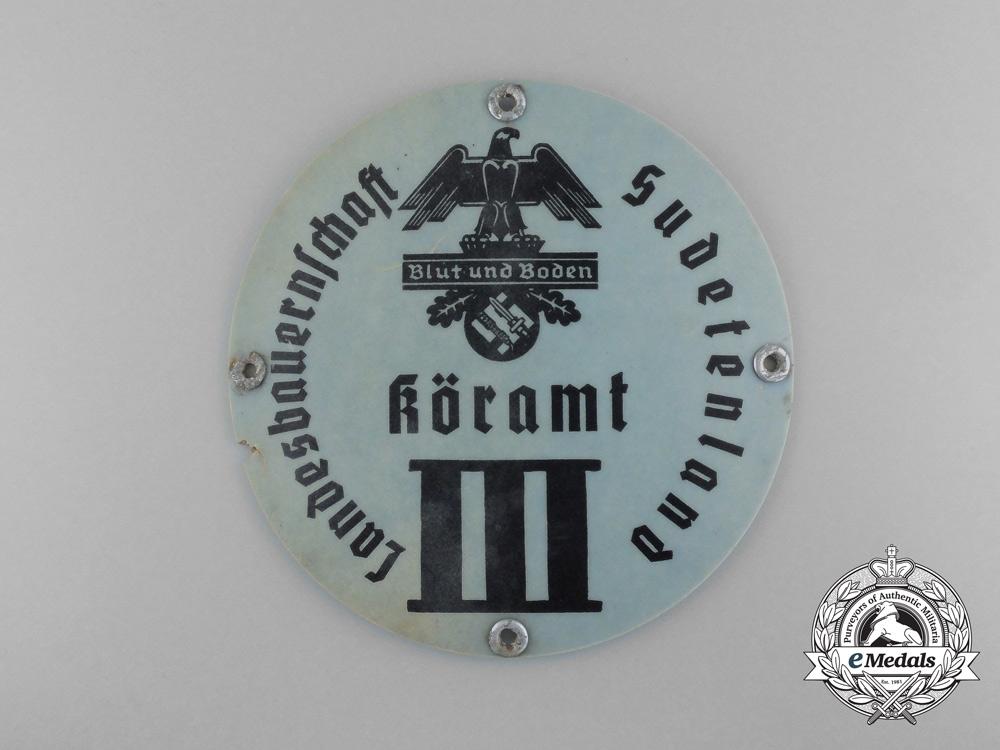"eMedals-A Sudetenland Reichsnährstand ""Blut und Boden"" Breed Selection Office III Sign"