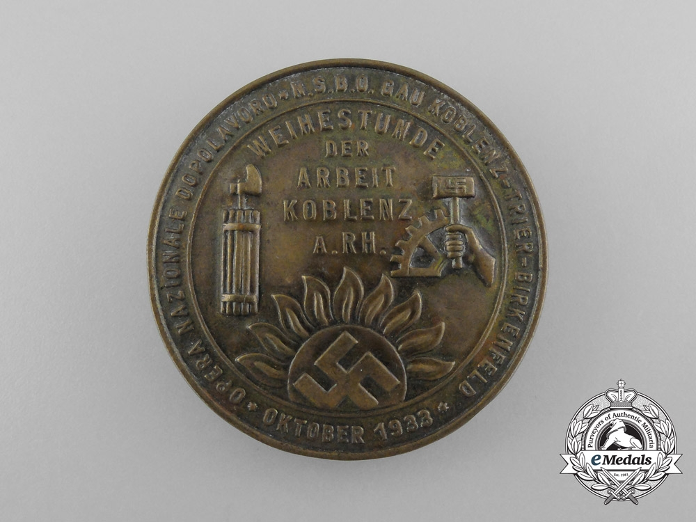 "eMedals-A 1933 Italian OND & NSBO Koblenz Region ""Hour of Remembrance of Tradesmen's Labour"" Badge"
