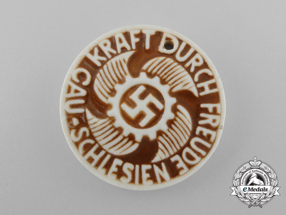 eMedals-A Third Reich Period District Silesia Strength Through Joy Celebration Badge
