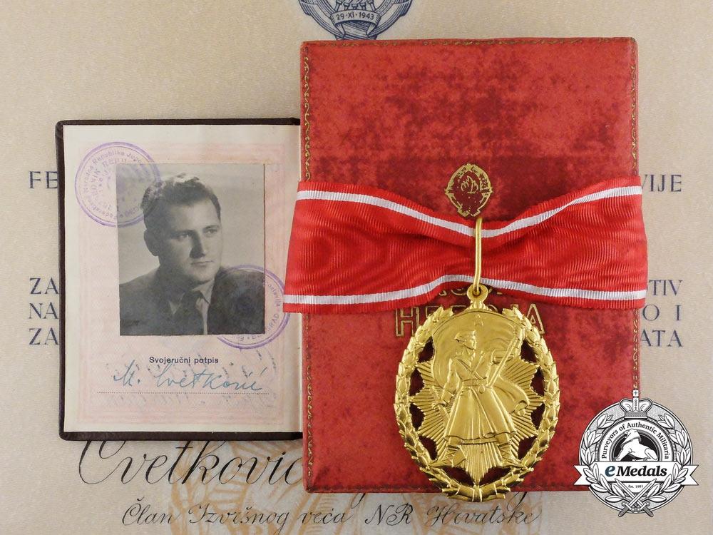 eMedals-The 1953 Order of the People's Hero with Award Document to Croatian President Marijan Cvetković