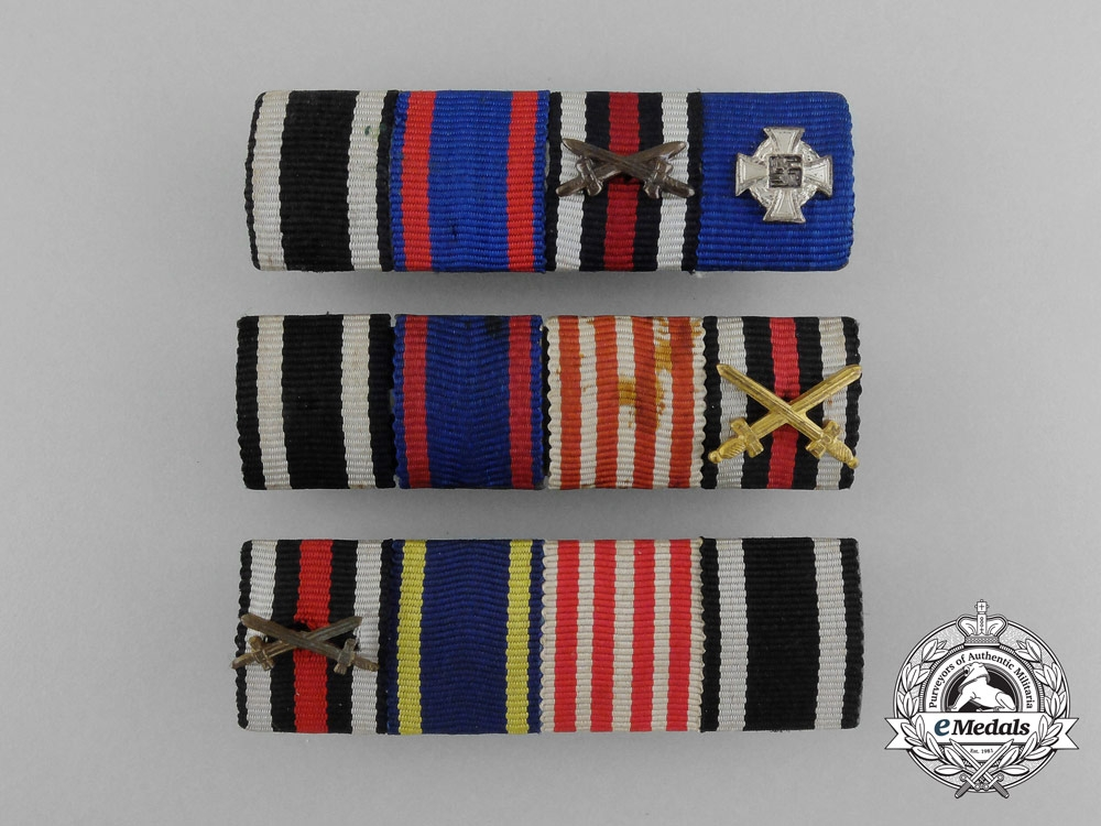 eMedals- A Lot of Three First and Second War Miniature Medal Bars with Four Medals and Awards Each
