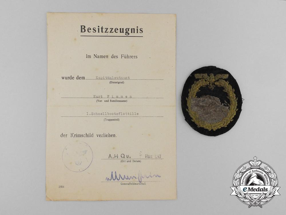 eMedals-A Krim Shield Document & Cloth E-Boat Badge to KC Recipient Kommandant Kurt Fimmen