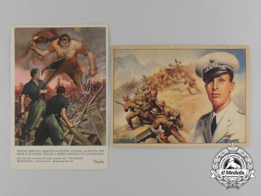 eMedals-A Pair of Second War Italian Propaganda Postcards
