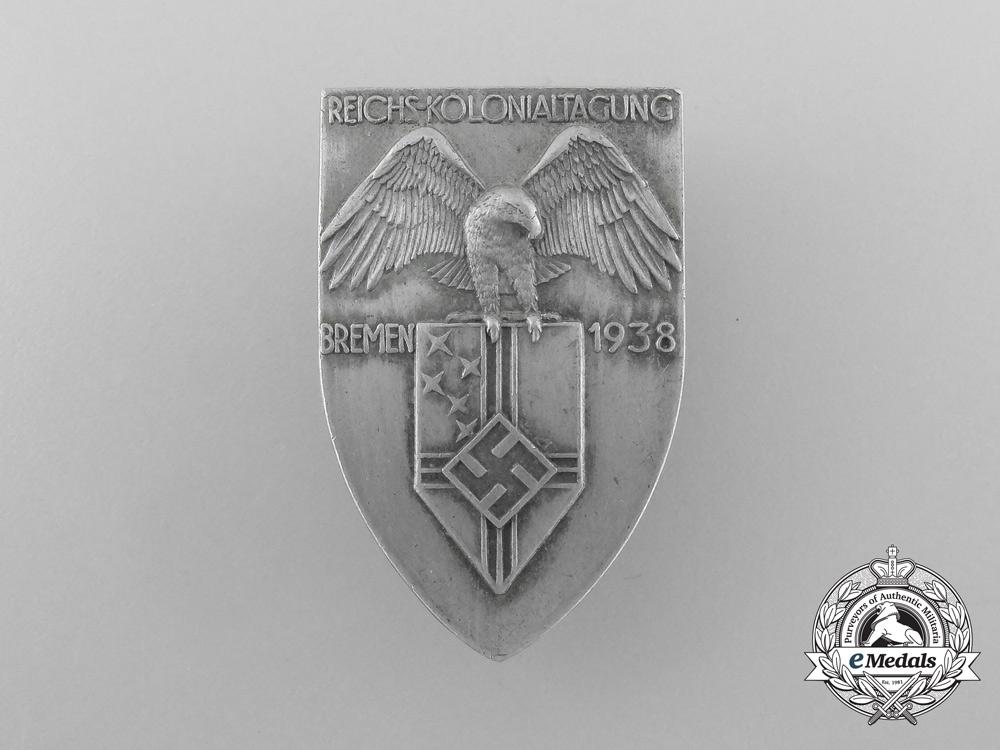 eMedals-A 1938 Bremen Reichs-Kolonialtagung Badge by L. Christian Lauer
