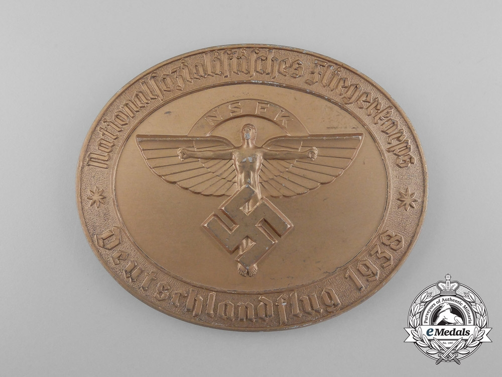 eMedals-A 1938 National Socialist Flying Corps German Flight Award Table Medal; Numbered