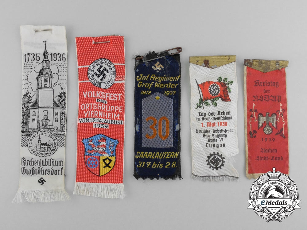 eMedals-A Lot of Five Third Reich Period German Fabric Event Pinback Banners