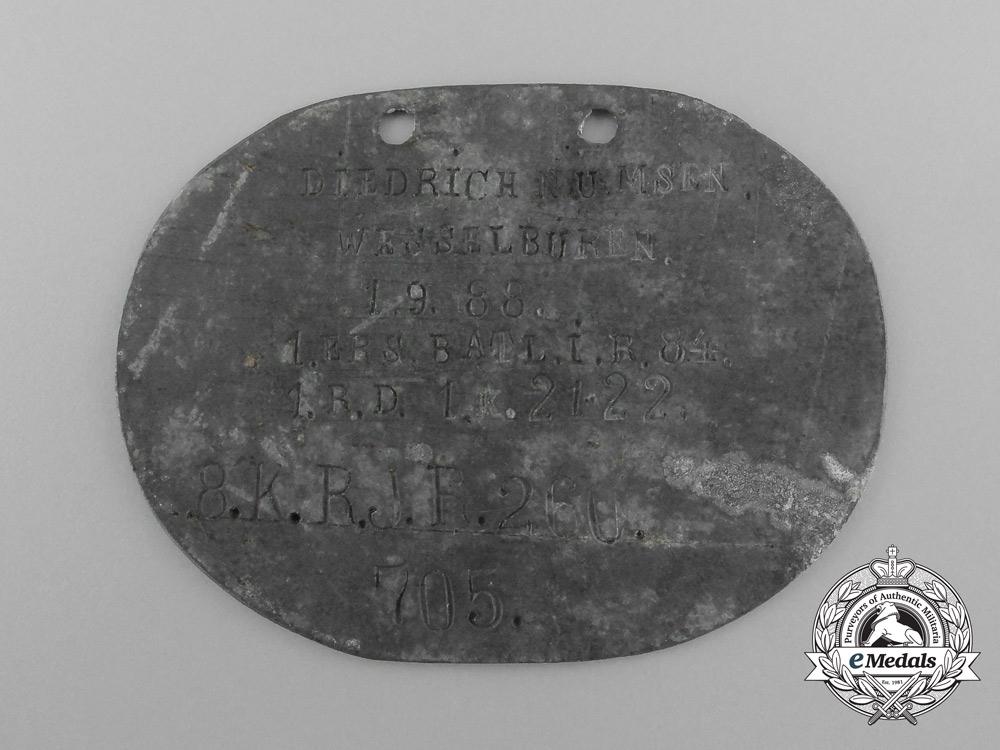 eMedals-A First War German ID Disc Belonging to Diedrich Numsen