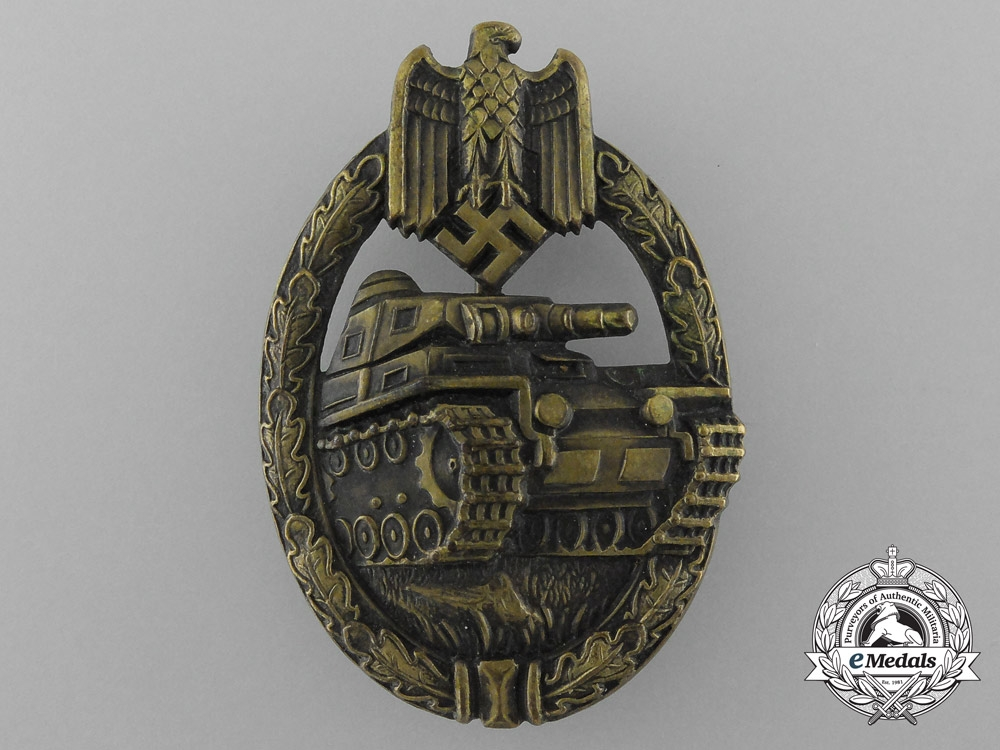 eMedals-A Mint & Early Panzer Assault Badge in Bronze by Karl Wurster
