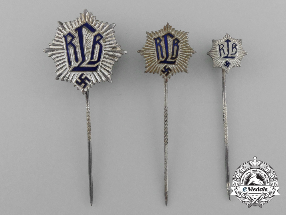 eMedals-A Lot of Three Reichsluftschutz (RLB) Stickpins