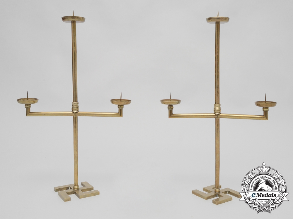eMedals-A Rare Set of Two Large Brass Candelabra