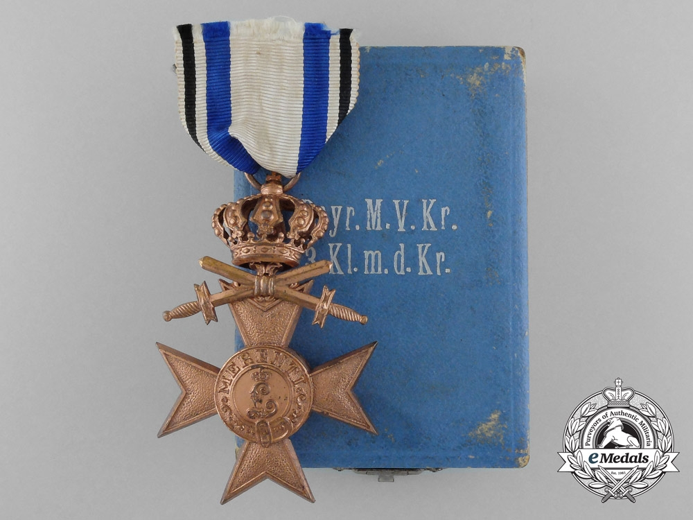 eMedals-A Bavarian Military Merit Cross with Swords & Crown in Case by Deschler & Sohn