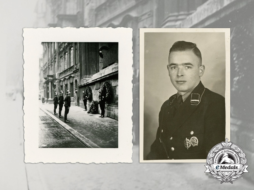 eMedals-Germany, SS. Three Photographs; SS Member & SS Guards at the Feldherrnhalle