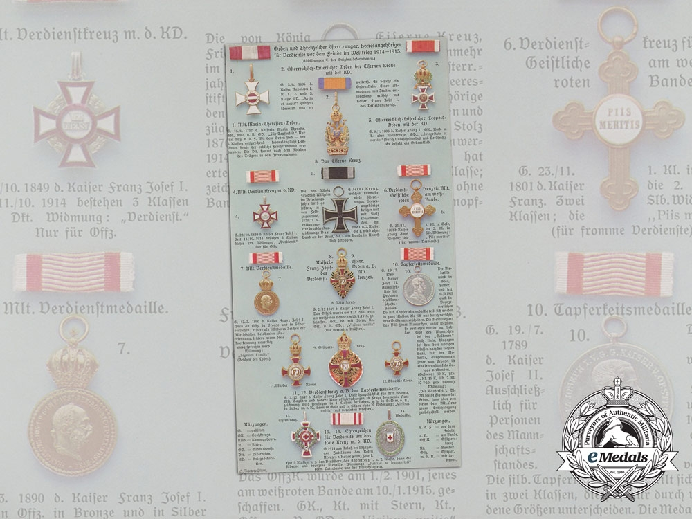 eMedals-An Unused Postcard Depicting Fine Austro-Hungarian Orders and Medals of the First War