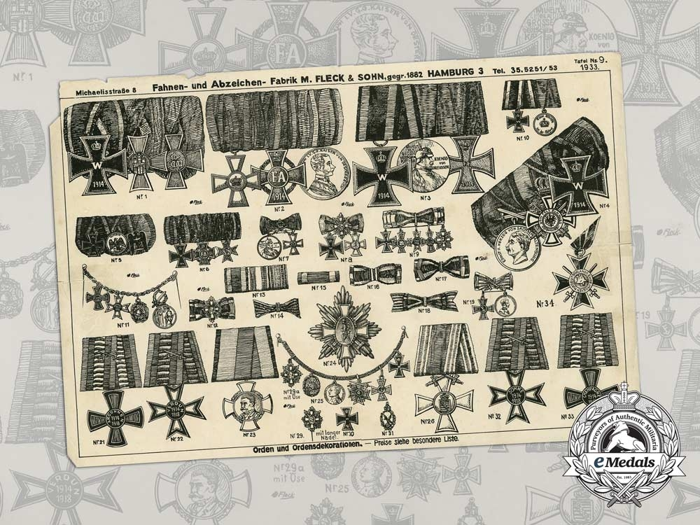 eMedals-A First War Medals & Decorations Product Page from Manufacture M. Fleck & Son, Hamburg