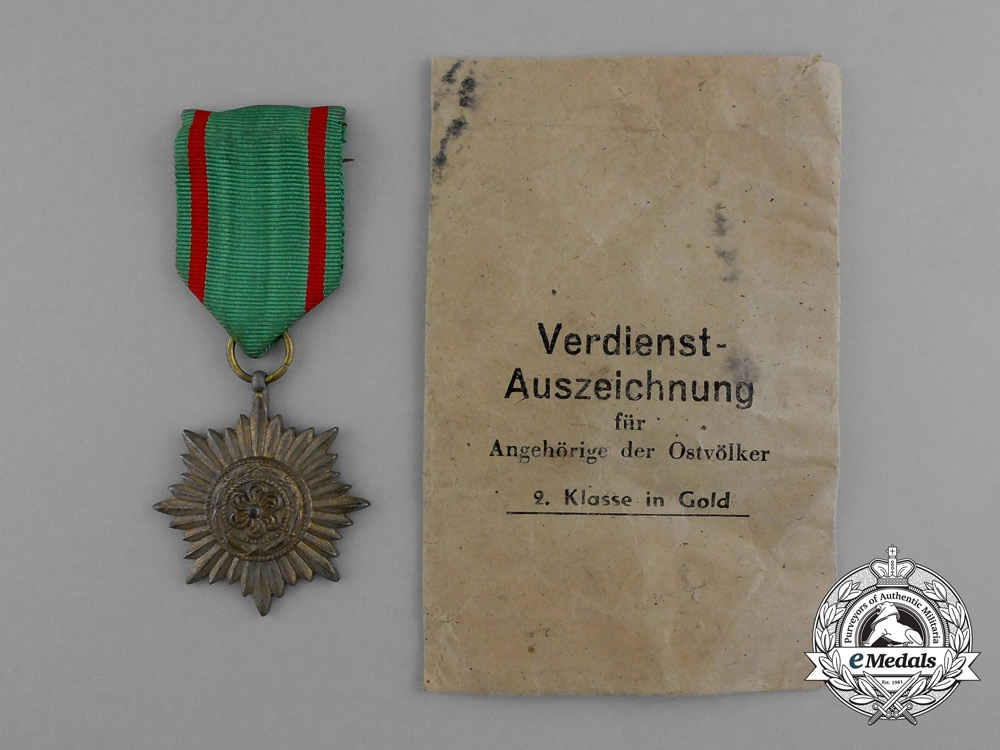 eMedals-A Gold Grade Eastern People Bravery Decoration; 2nd Class by R. Wächtler & Lange in its Packet of Issue