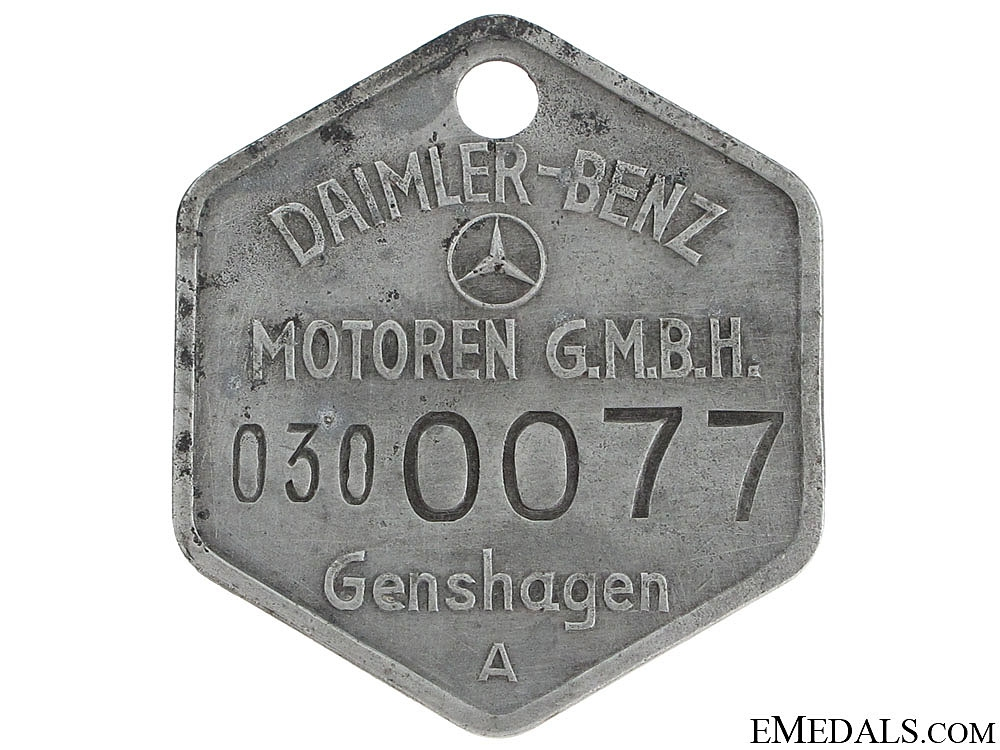 eMedals-Daimler-Benz Worker's Numbered ID Tag