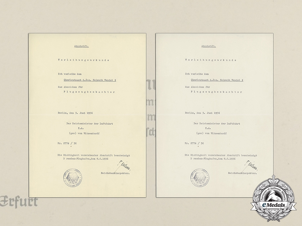 eMedals-A Document Group to First & Second War Pilot Oberleutnant Helmuth Wendel