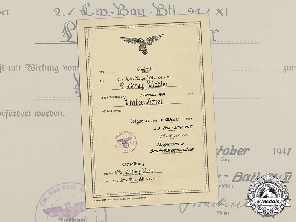 eMedals-Germany, Luftwaffe. An Unusual Promotion Document to NCO Ludwig Hadler; Construction Battalion