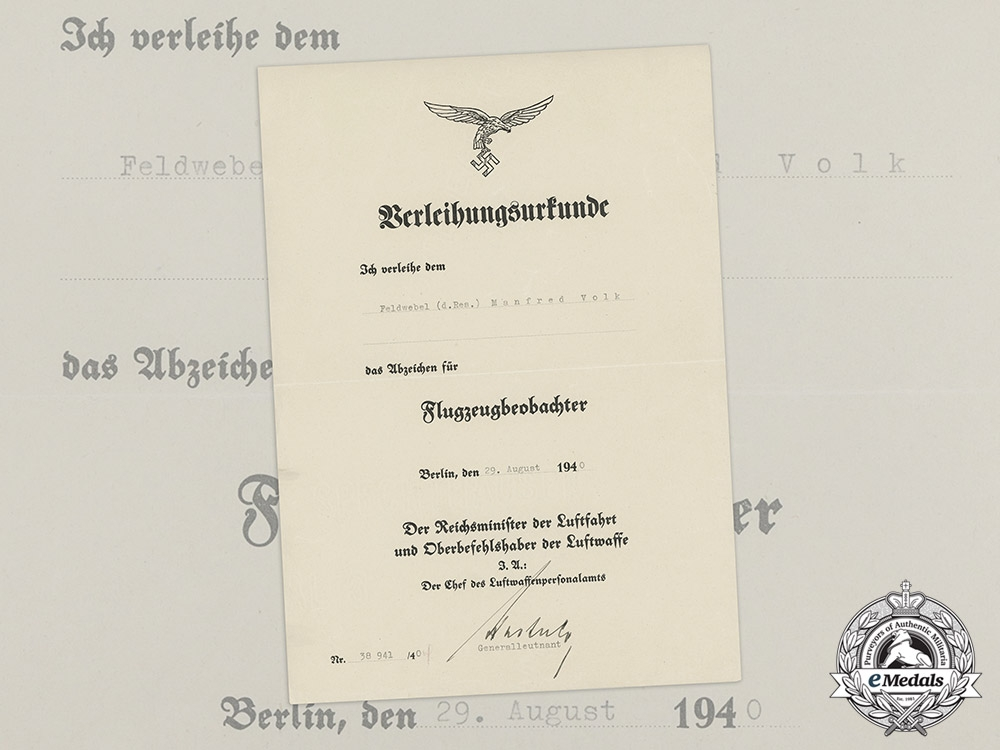 eMedals-An Luftwaffe Award Document for a Observers Badge Presented to Sergeant Manfred Volk