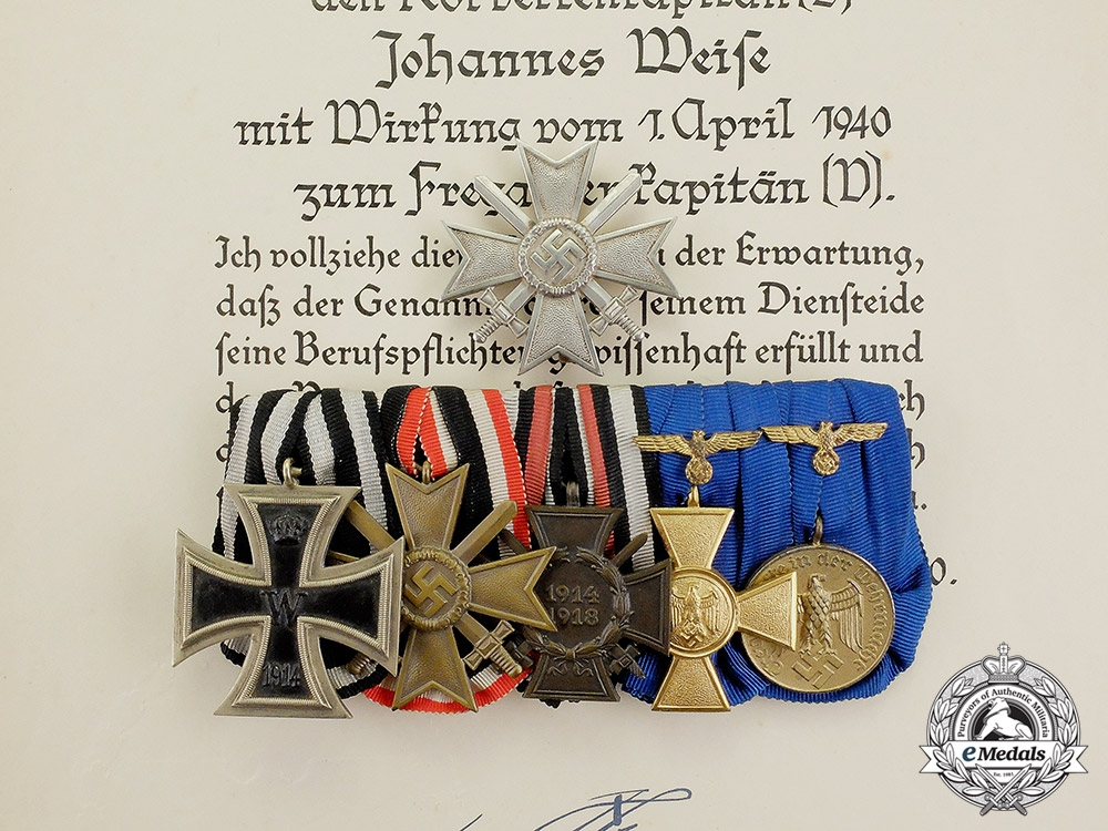 eMedals-Germany, Kriegsmarine. The Decorations & Documents of Frigate Captain Johannes Weise; A.H. Signed