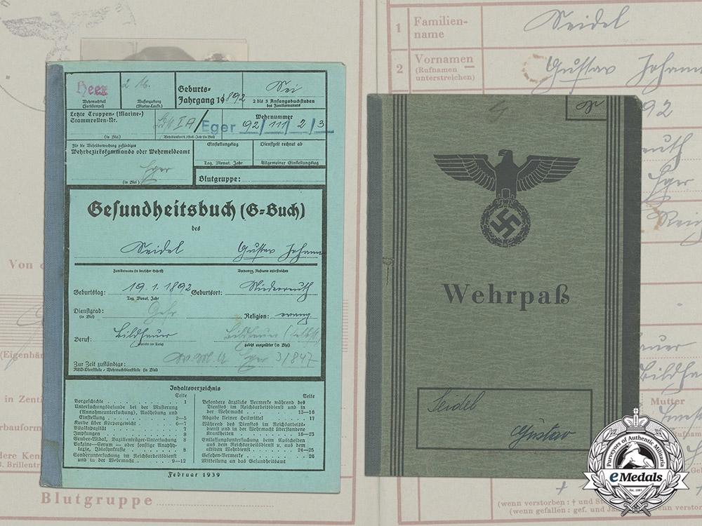 eMedals-A Wehrpaß & Health Book to POW Guard Gustav Seidel