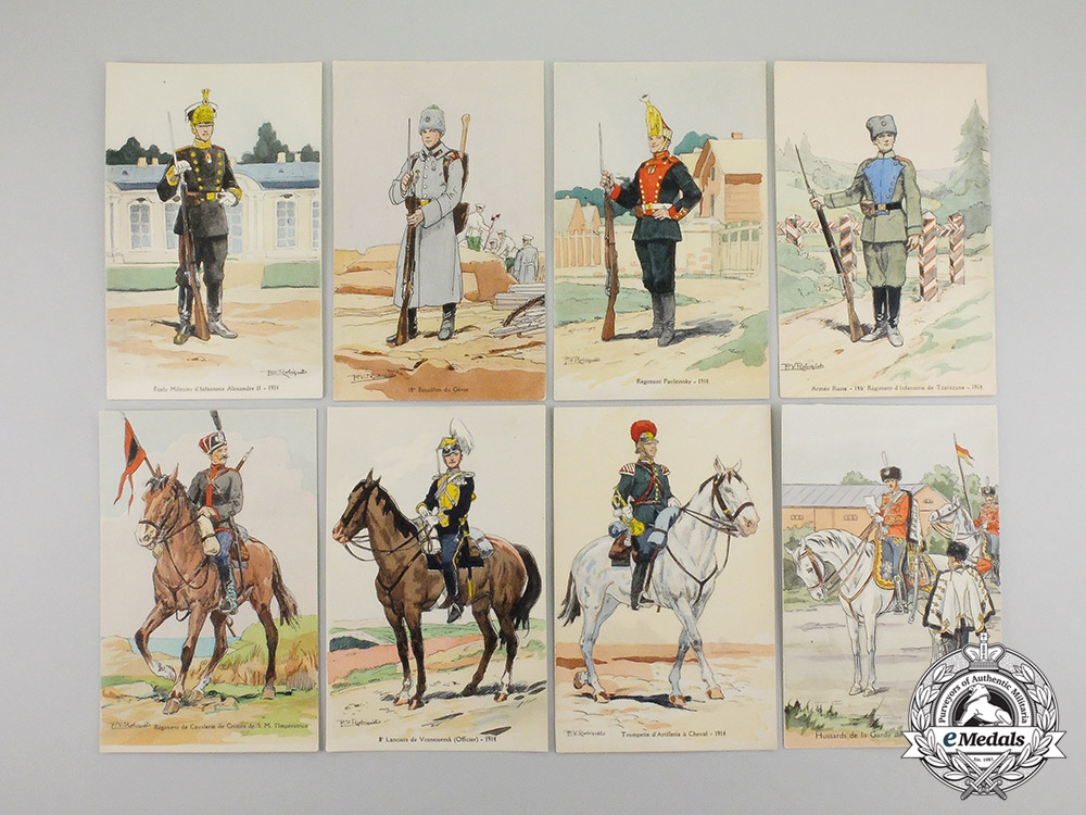 eMedals-Russia, Imperial. Nine First War Period Uniformed Soldiers Series Postcards