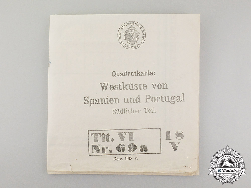 eMedals-Germany, Imperial. A Large First War Naval Map of southwest Spain and Portugal
