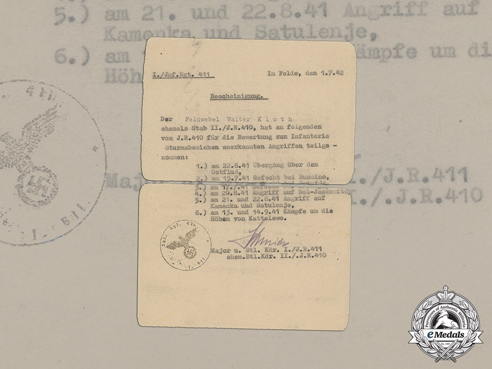 eMedals-Croatia. A Record of Attacks Counting Towards the Infantry Assault Badge to Feldwebel Kloth, c.1942