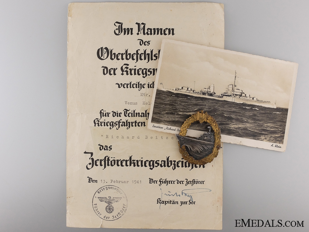 eMedals-Destroyer War Badge with Documents to Mtr. V.Helmut of the Destroyer Beitzen